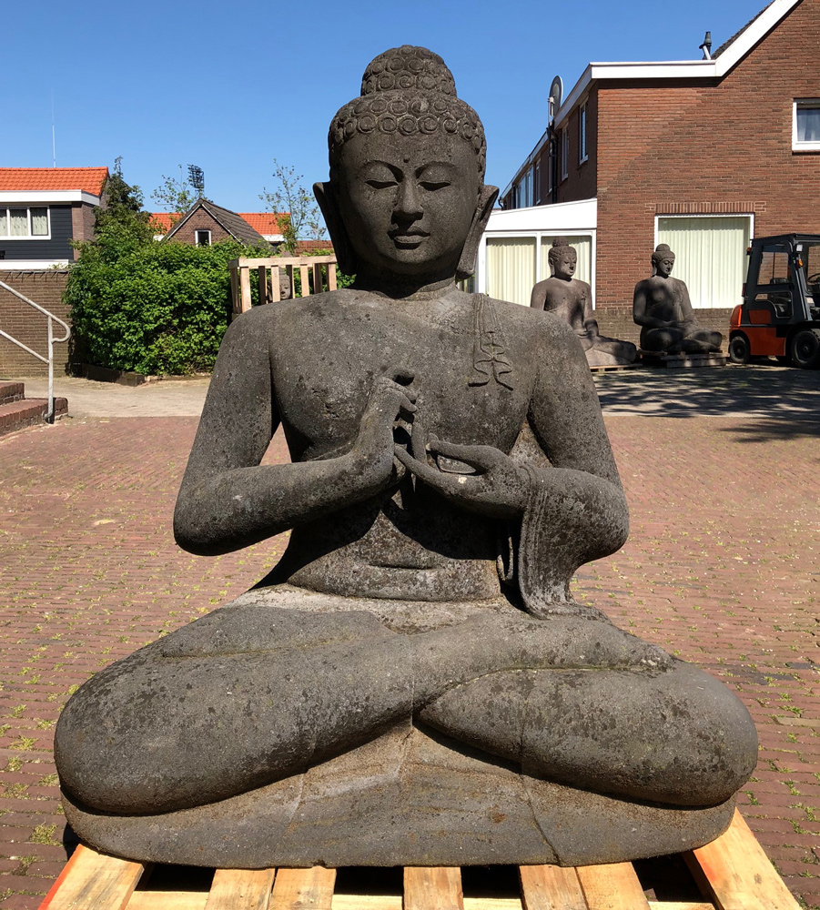 Large old lavastone Buddha statue from Indonesia made from Lavastone