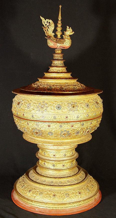 Grote Birmese offerschaal met Hintha
