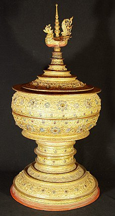 Large Burmese offering vessel with Hintha bird