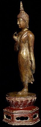 Antique 15-16th century walking Sukhothai Buddha statue