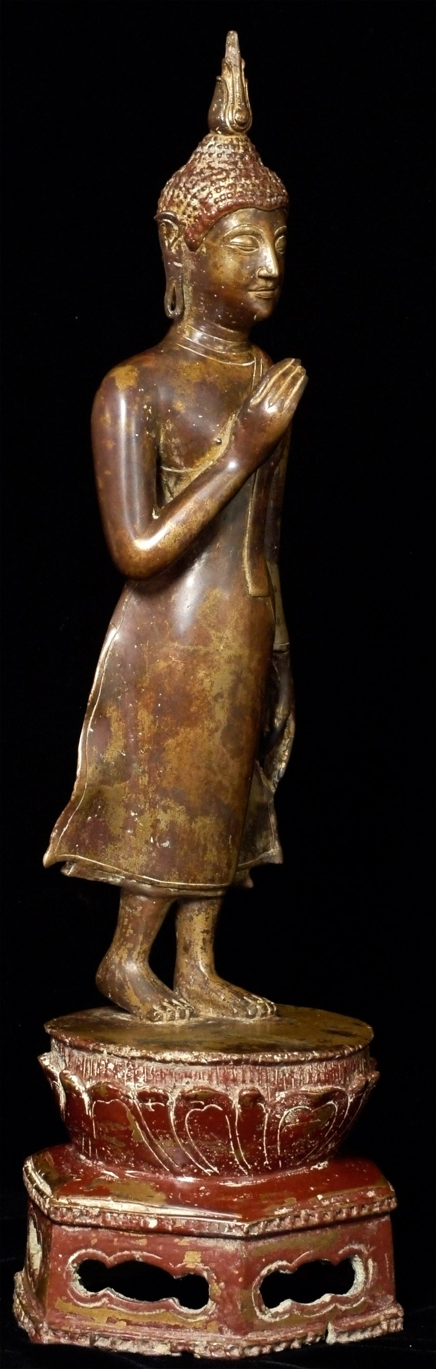 Antique 15-16th century walking Sukhothai Buddha statue from Thailand made from Bronze