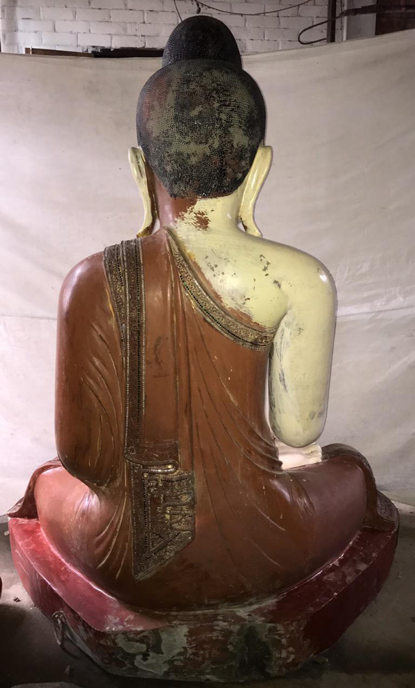 Very large & special antique Buddha statue from Burma made from Wood