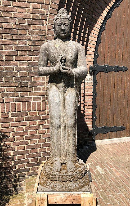 Large lavastone Buddha statue
