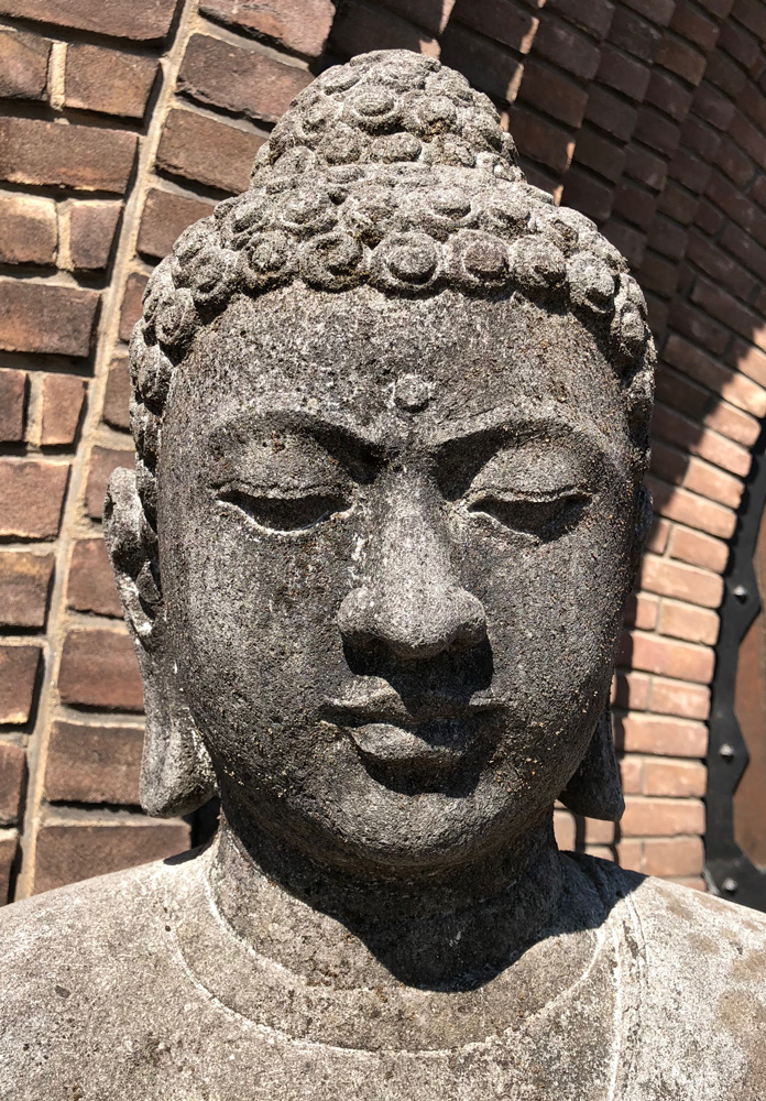 Large lavastone Buddha statue from Indonesia made from Lavastone