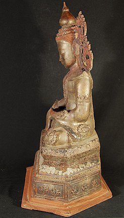 Antique crowned Burmese Buddha statue