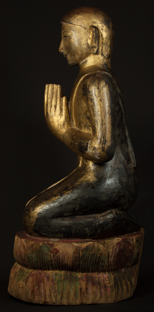 Large Burmese Monk statue from Burma made from Wood