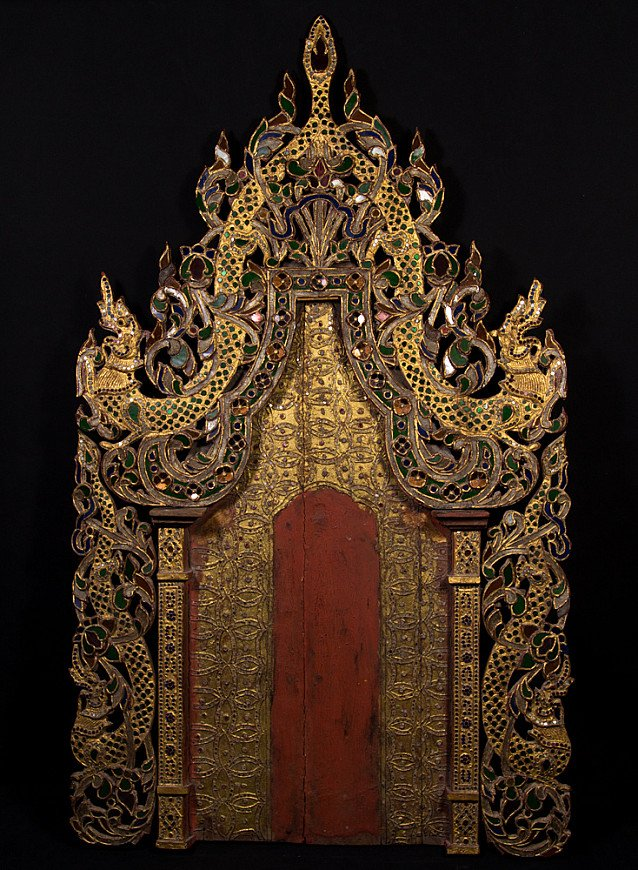 Antique wooden throne panel