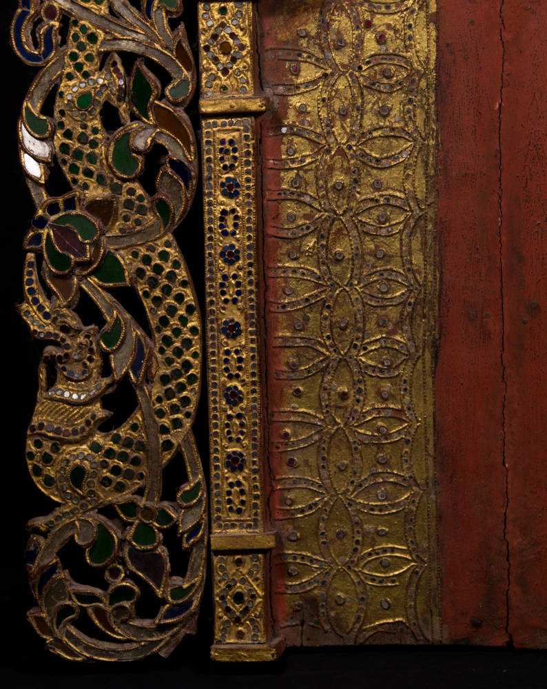 Antique wooden throne panel from Burma made from Wood