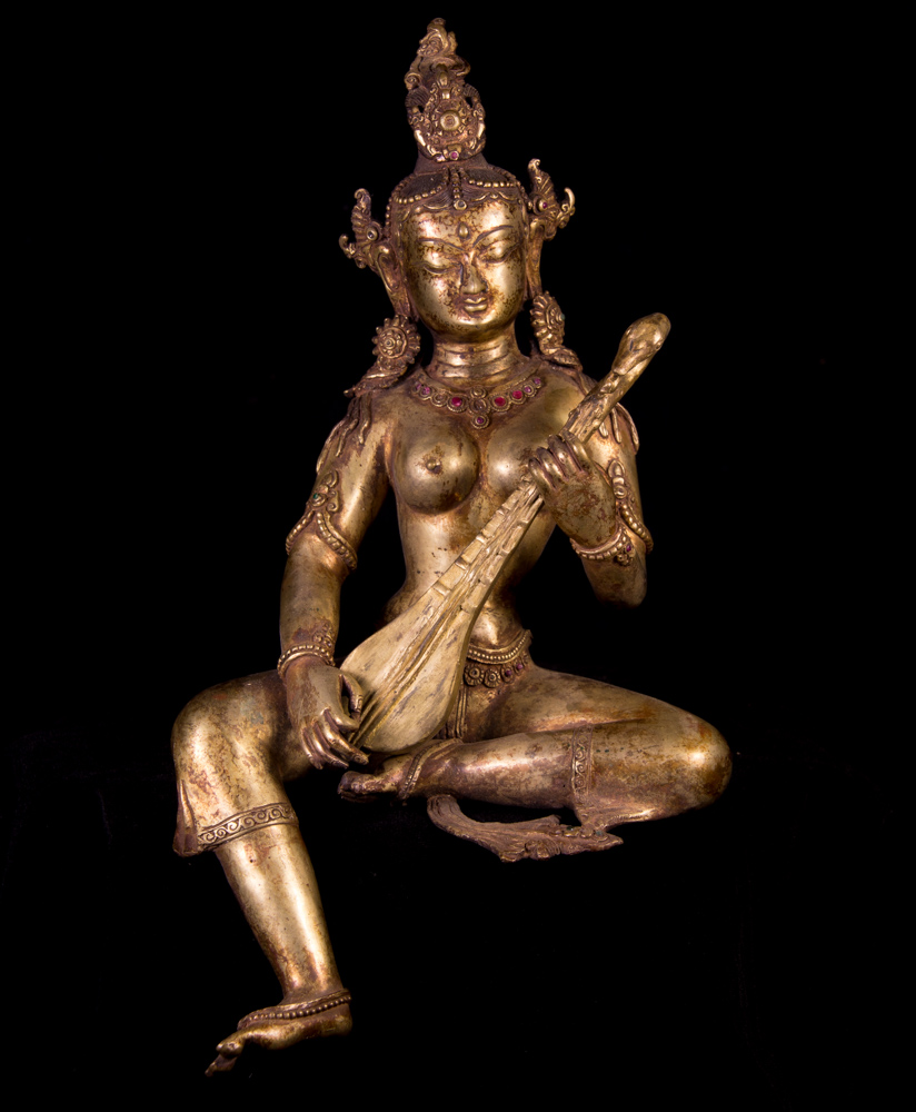 Old bronze Saraswati statue from Nepal made from Bronze