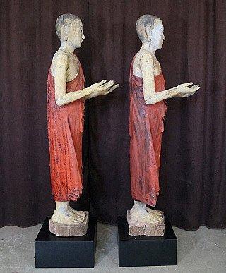 Pair of 19th century Burmese monks