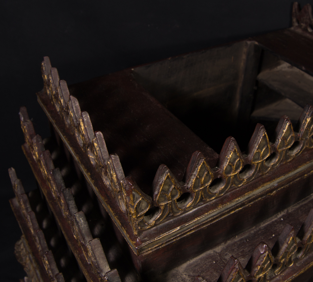 Old wooden Burmese temple box from Burma made from Wood