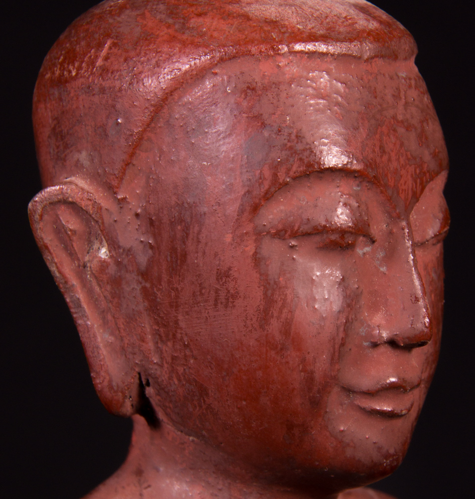 Set of old monk statues from Burma made from Wood
