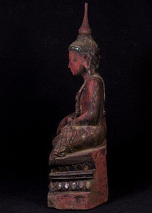 Antiek houten Boeddhabeeld