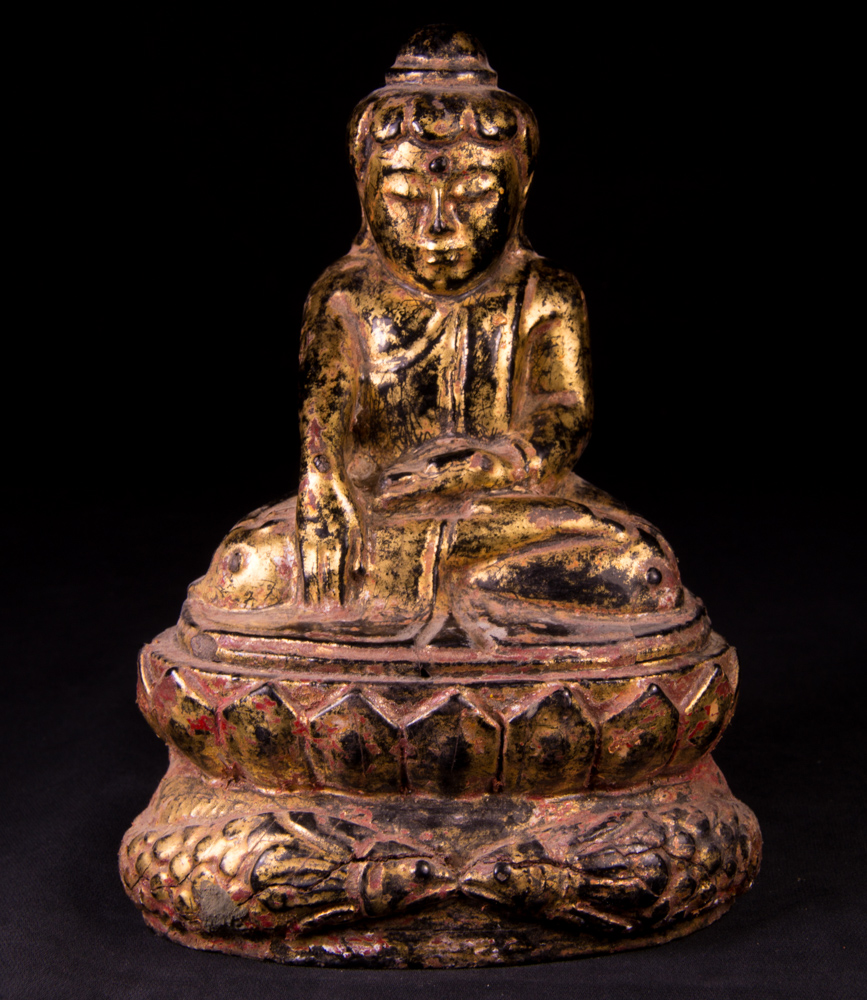 Antique Burmese Lotus Buddha statue from Burma