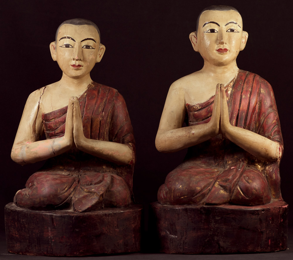 Antique set of monk statues from Burma