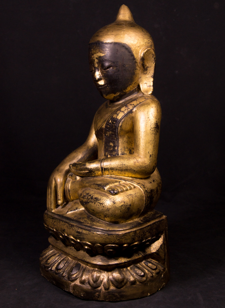 Antique Burmese Lotus Buddha statue from Burma made from Wood