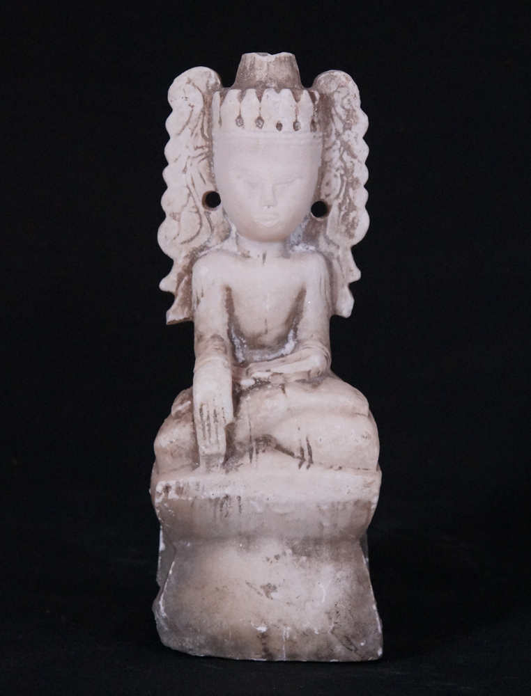 Antique marble Crowned Buddha from Burma