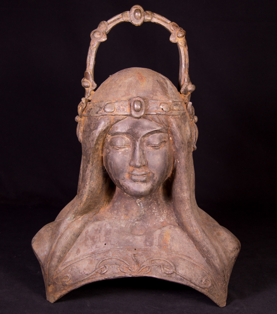Old bronze woman head from Burma