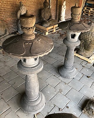 Large pair of Lavastone Lanterns