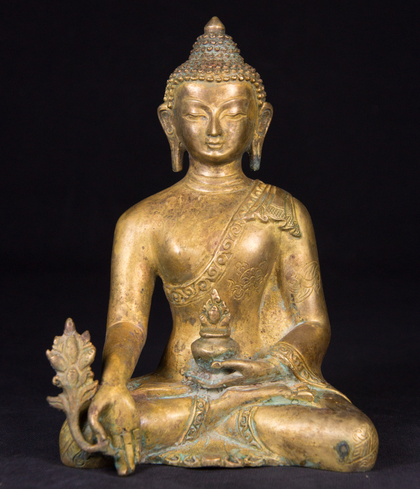 Old bronze Medicine Buddha statue from Nepal