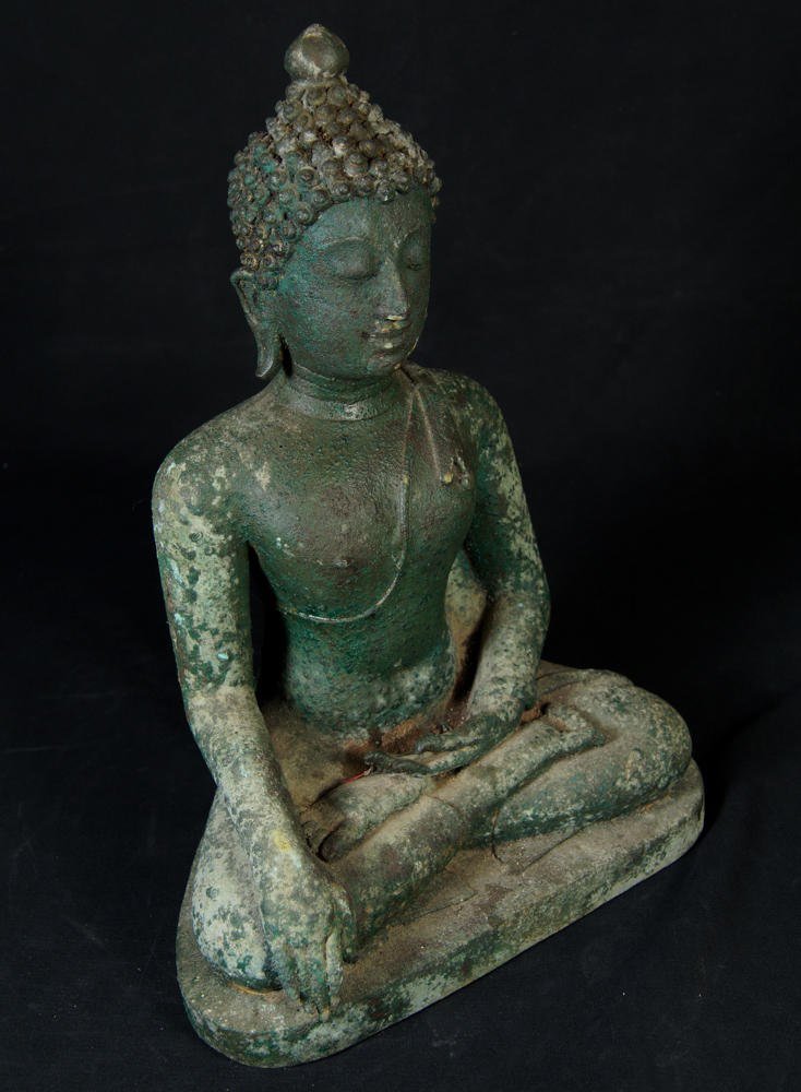 Old bronze Sukhothai Buddha statue from Thailand made from Bronze