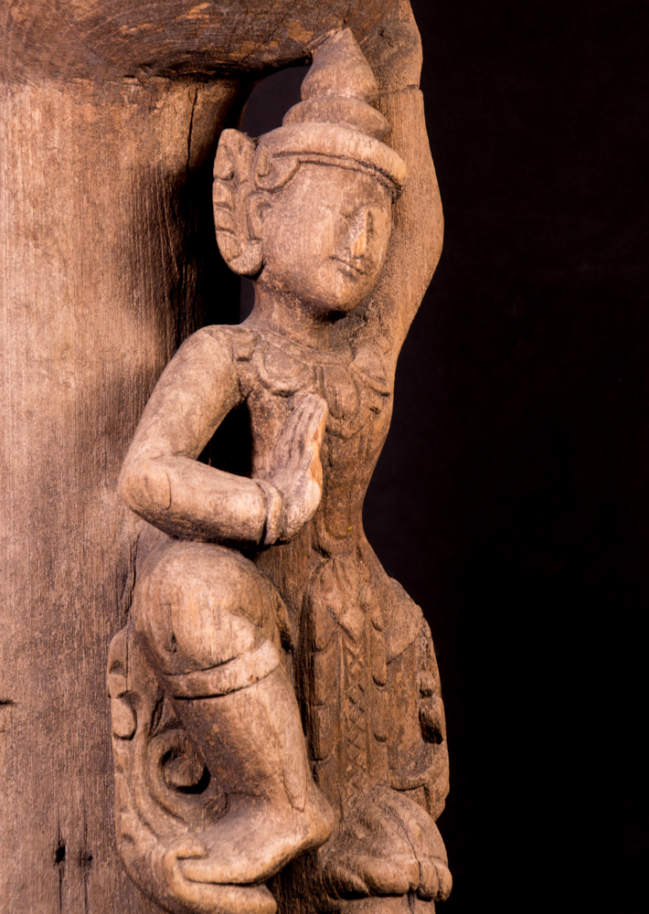 Antique temple woodcarving from Burma made from Wood