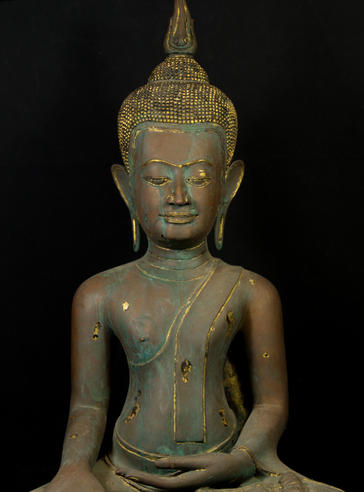 Old thai bronze U-Thong Buddha statue from Thailand made from Bronze