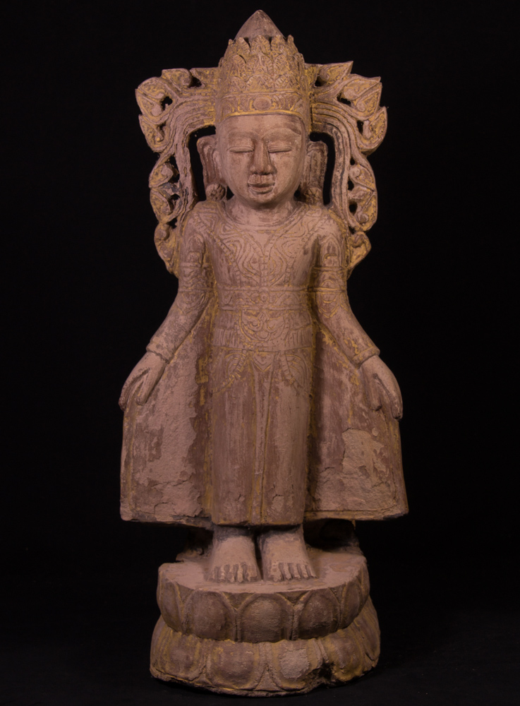 Old sandstone Buddha statue from Burma