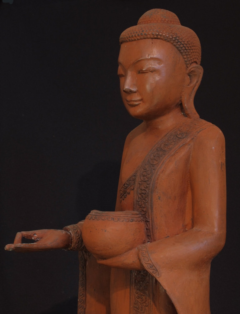 Old standing Buddha from Burma made from Wood