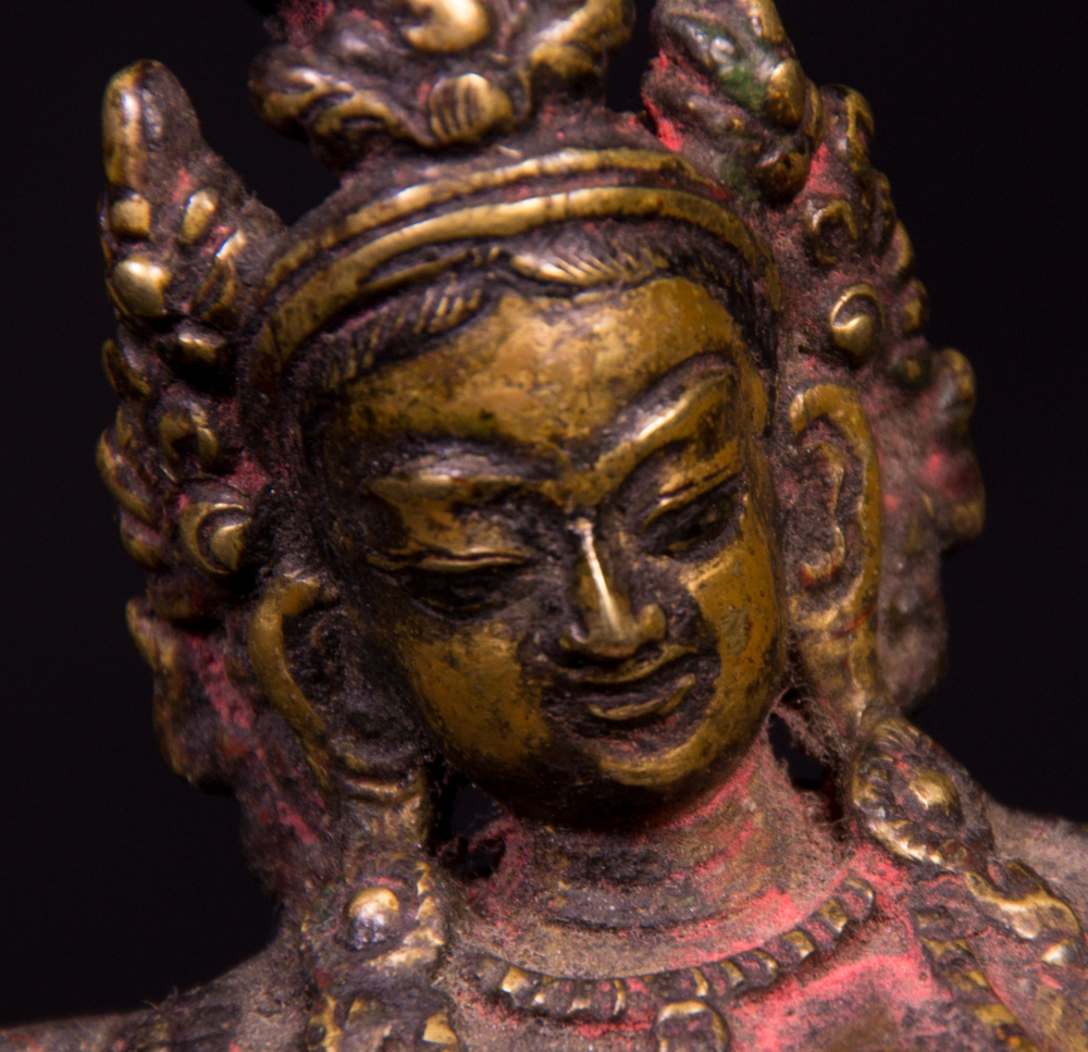 Antique bronze Green Tara statue from Nepal made from Bronze