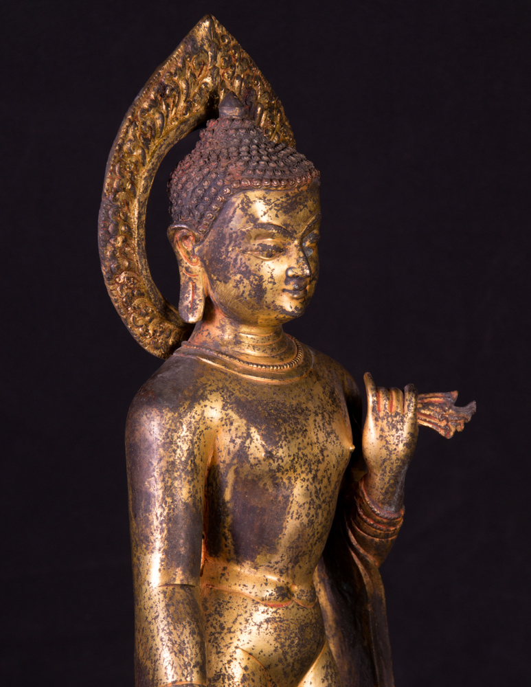 Antique Nepali Buddha statue from Nepal made from Bronze