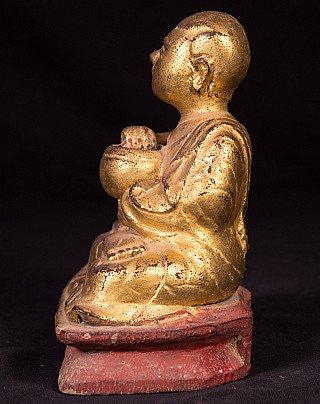 Antiek houten monnik beeld