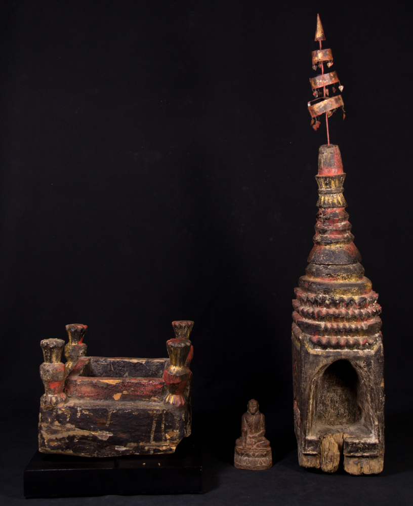 Antique Burmese Pagoda top from Burma made from Wood