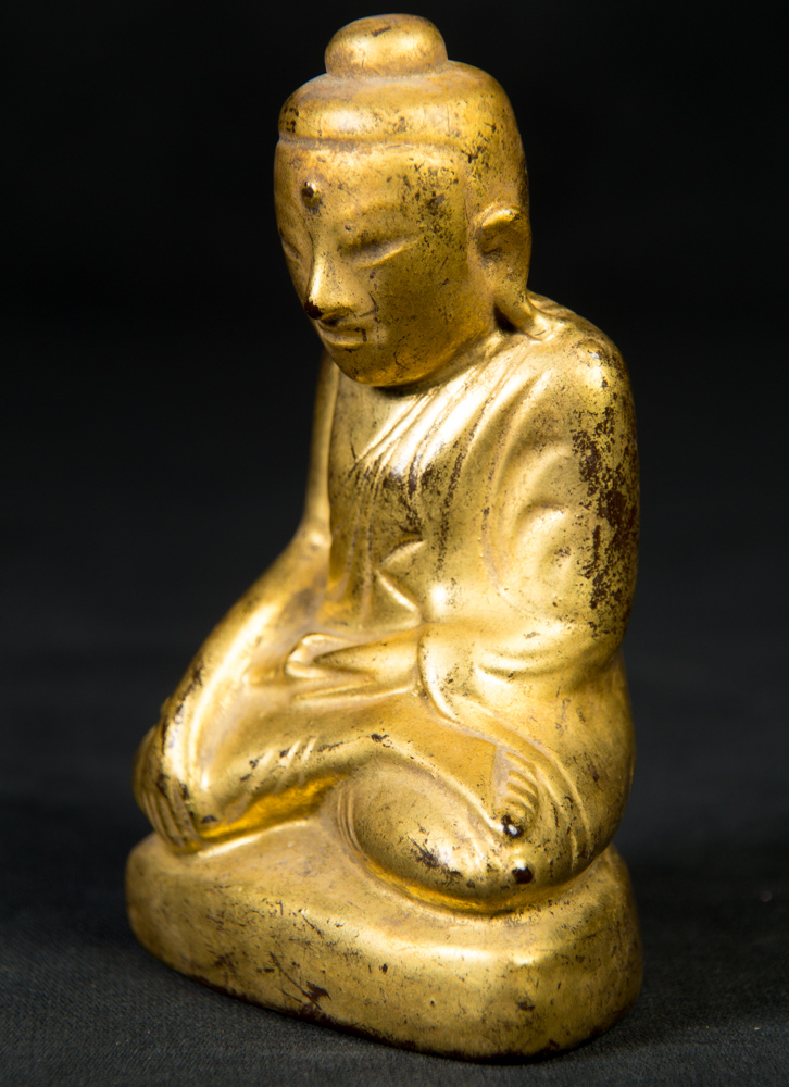 Antique Myanmar Shan Buddha statue from Burma made from lacquer