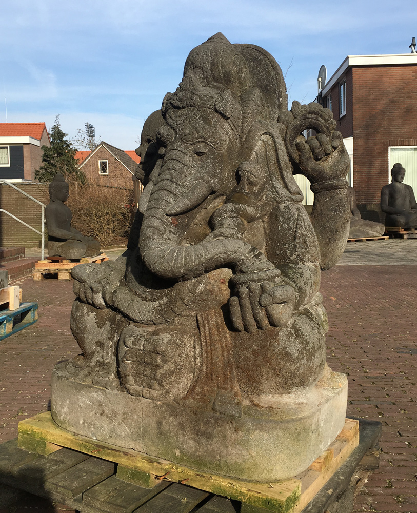 Large old Lavastone Ganesha statue from Indonesia made from Lavastone