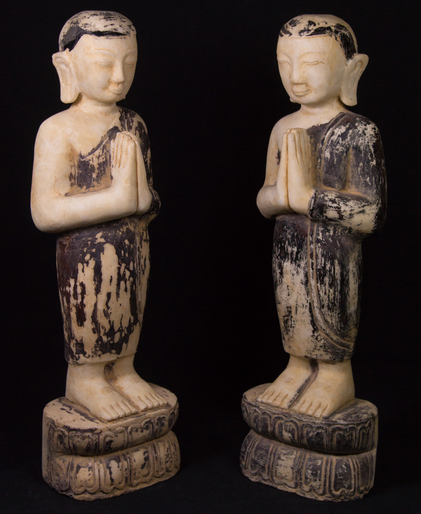 Pair of standing monk statues from Burma