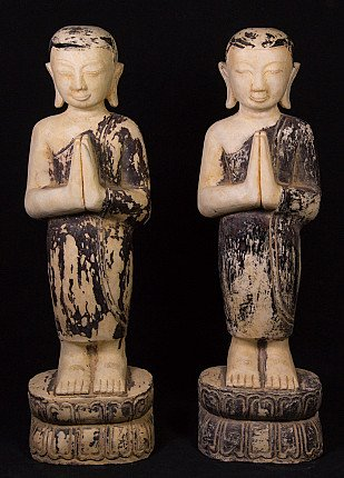 Pair of standing monk statues