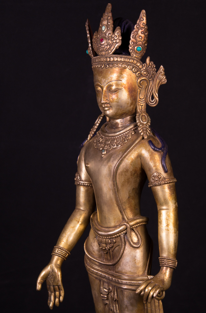 Old bronze Bodhisattva statue from Nepal made from Bronze