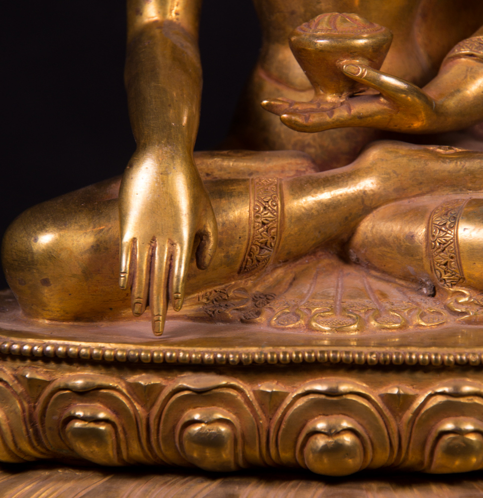 Old bronze Buddha statue from Nepal made from Bronze
