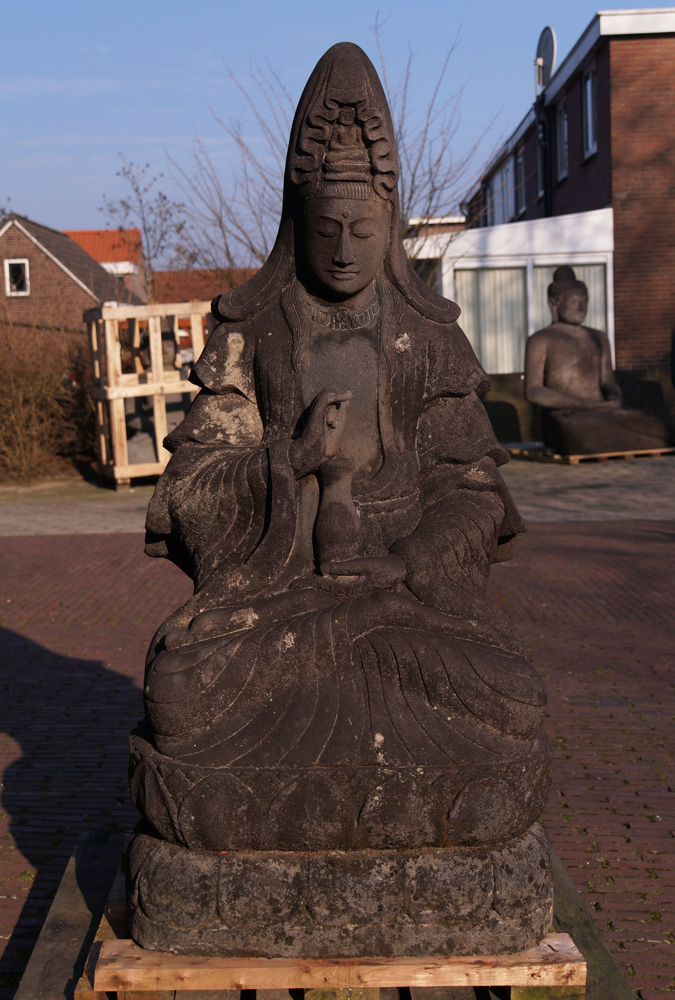 Large lavastone Guan Yin statue from Indonesia