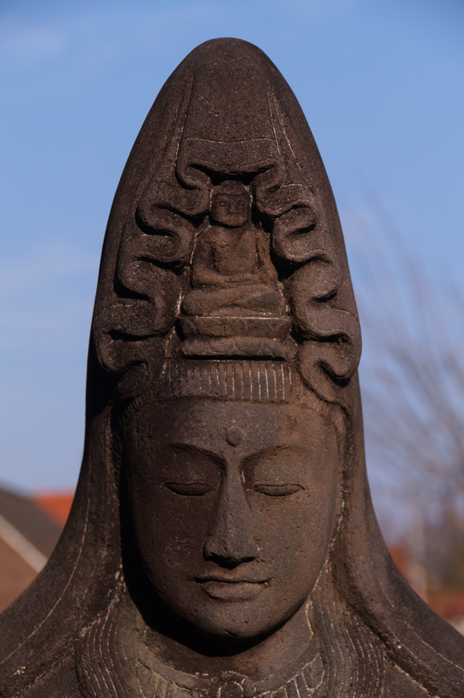Large lavastone Guan Yin statue from Indonesia made from Lavastone