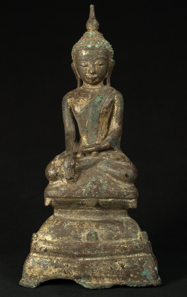 Antique bronze Burmese Buddha statue from Burma