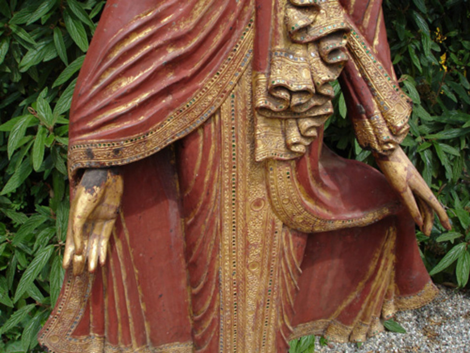 Antique standing Buddha from Burma made from Wood