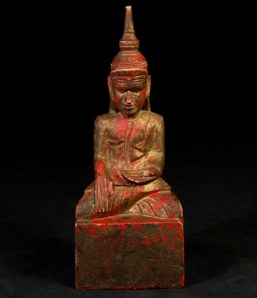 Antique wooden Shan Buddha statue from Burma