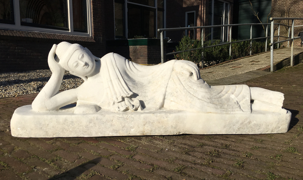 Newly made marble reclining Buddha statue from Burma made from Marble