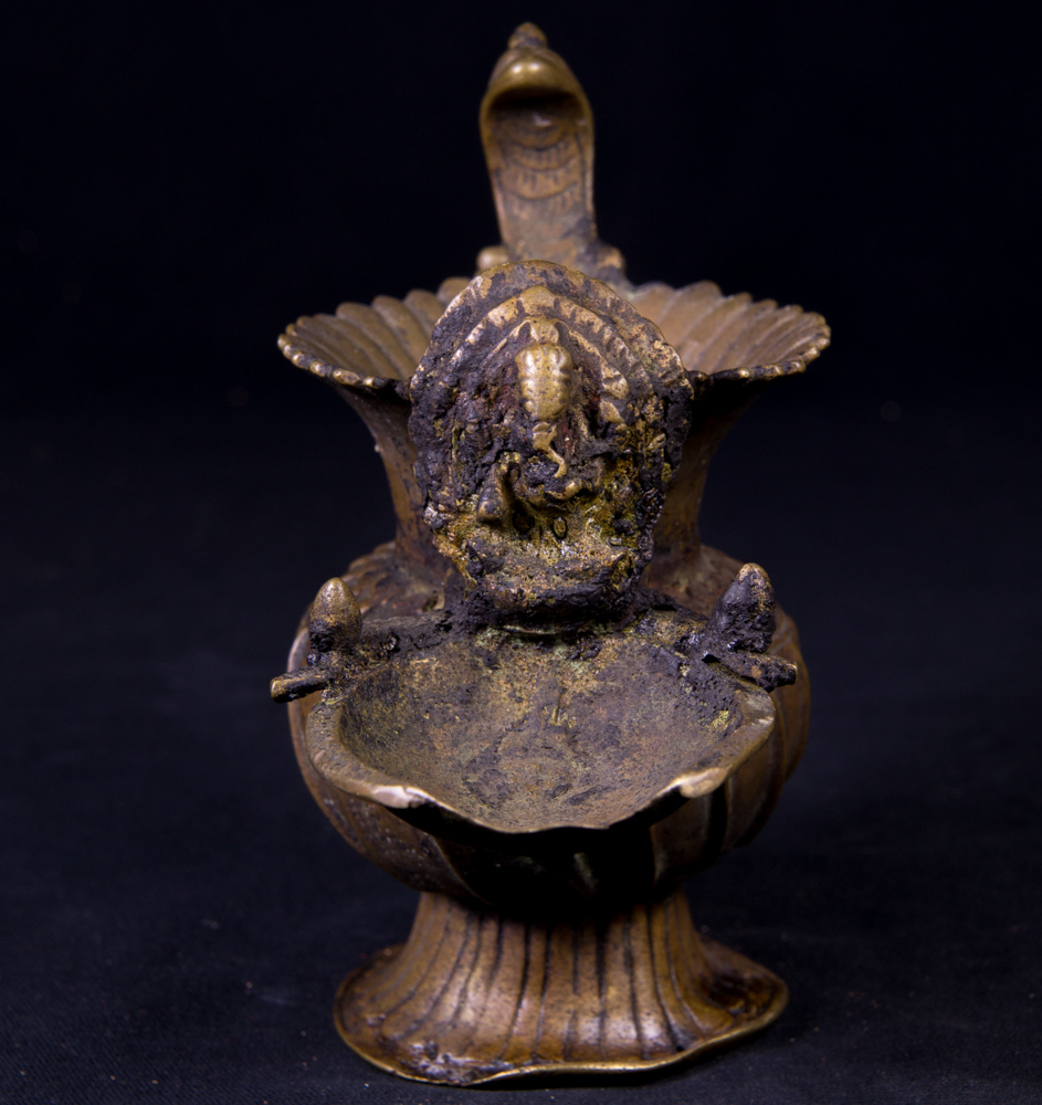 Antique Nepali Oil Lamp - Sukunda from Nepal made from Bronze
