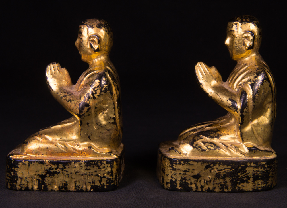 Antique set monk statues from Burma made from Wood