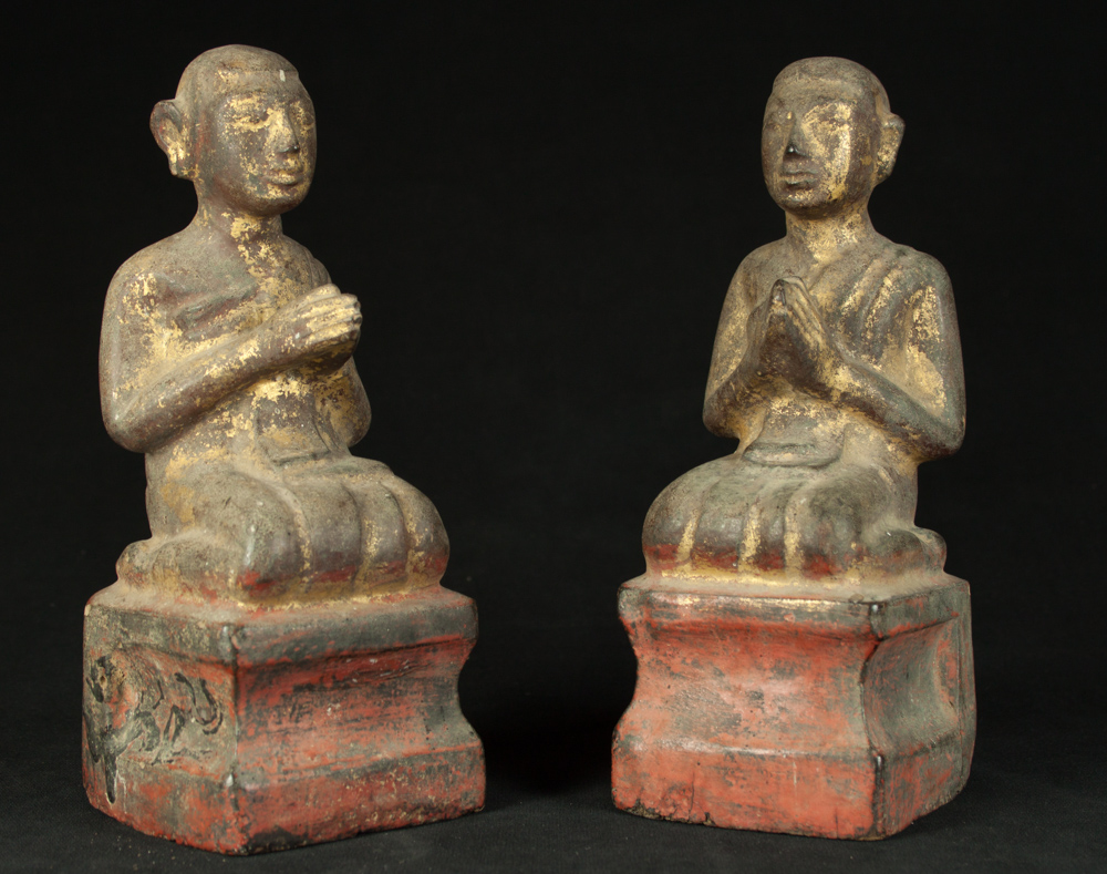 Set of antique monk statues from Burma