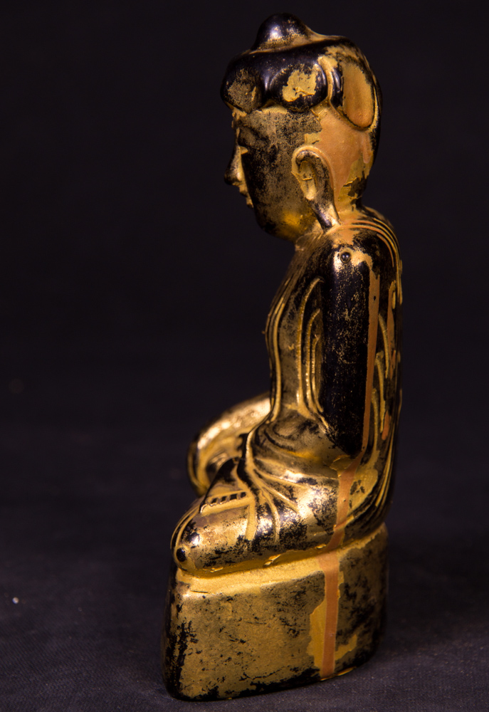Antique Burmese Lotus Buddha statue from Burma made from lacquer