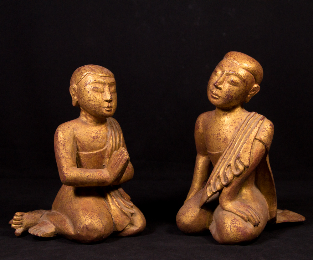 Old pair of wooden monk statues from Burma